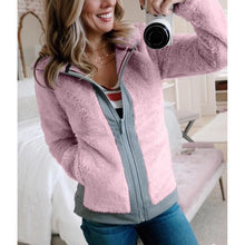 Load image into Gallery viewer, Autumn Winter Women Zippered Fleece Jacket Short (4369627906188)
