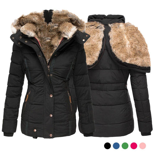 Women Solid Color Winter Hooded Parka Coat(S-5XL) (4369184030860)