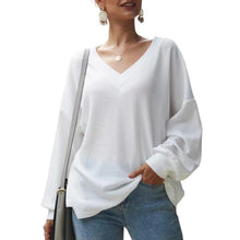 Load image into Gallery viewer, Loose Fitting Plain Sweater V Neck Long Sleeve (4369719427212)
