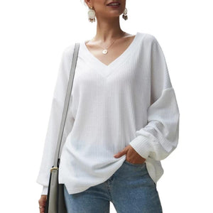 Loose Fitting Plain Sweater V Neck Long Sleeve (4369719427212)