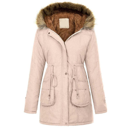 Women Zipper Hooded Thicken Warm Parkas Coat (4370004967564)