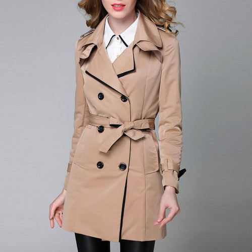 Turn-down Collar Double Breasted Belt Trench Coat