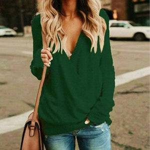 Long Sleeved V-neck Sweater Loose (4369712545932)