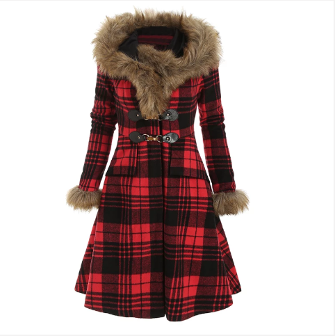 Women Plaid Hooded Coat Faux Fur Outwear (4369214800012)