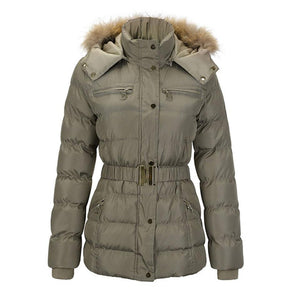 Winter Women Windproof Belted Thick Coat (4370006737036)