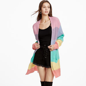 Rainbow Loose Sweater Open Front Cardigan (4369641504908)