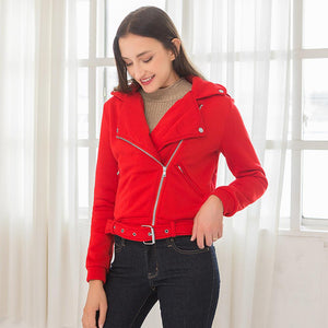 Lapel Zipper Belt Slit Pocket Patchwork Jacket (4369631871116)