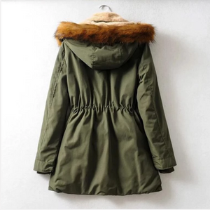 Women Loose Casual Thick Hooded Parka Coat (4369188683916)