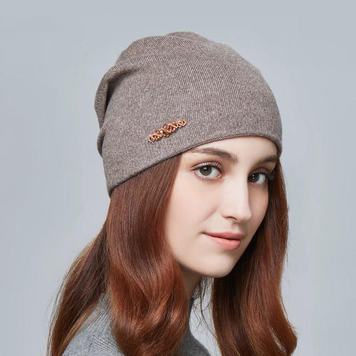 Knitted Winter Rhinestones Hats Warm Lady Beanies