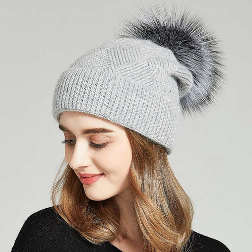 Winter Solid Warm Hat Women Knitted Beanies