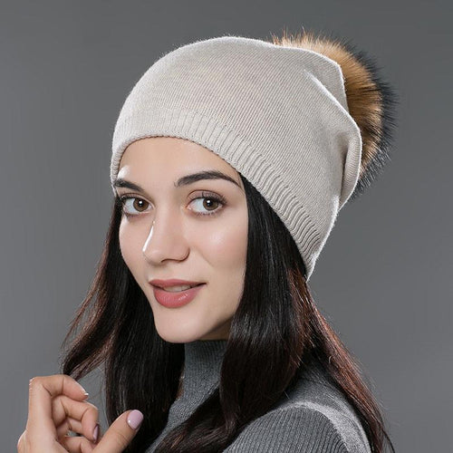Women Winter Fur Pom Pom Knitted Hats