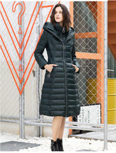 Load image into Gallery viewer, Solid Zippers Collar Long Hooded Down Coat (4370029609100)