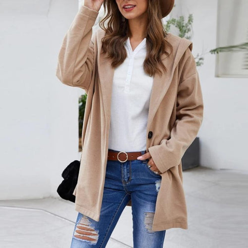 Elegant Turn-Down Collar Wool Blend Coat
