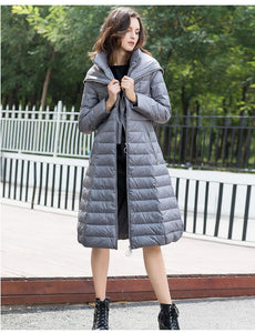 Solid Zippers Collar Long Hooded Down Coat (4370029609100)