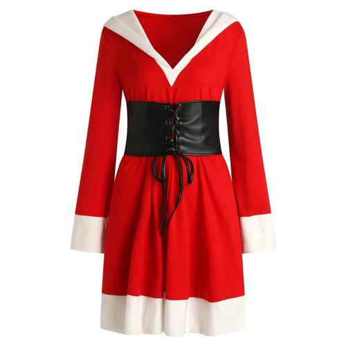 Christmas Lace Up Belt Hooded Dress Plus Size (4370152292492)