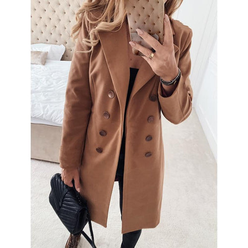 Women Solid Double Breasted Wool Coat Plus Size 3XL