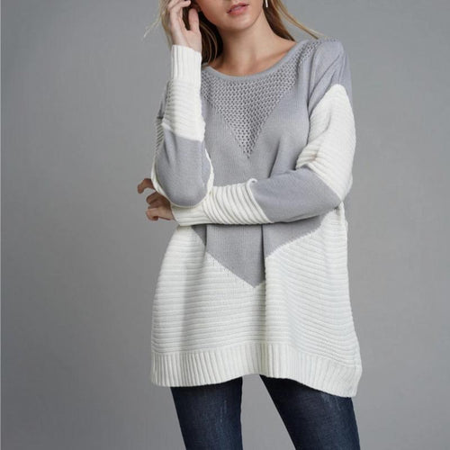 Loose Fashion Patchwork Sweater Round Neck (4369647108236)