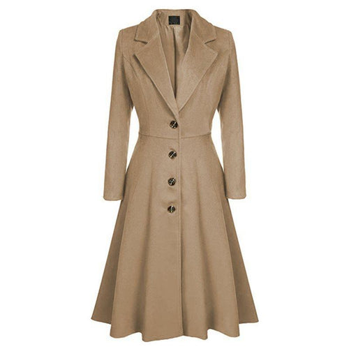 Winter Spring Lady Solid Single Breasted Extra Long Coat