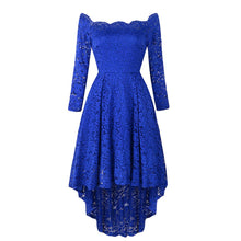 Load image into Gallery viewer, Off Shoulder High Low Hem Lace Party Dress (4370151309452)