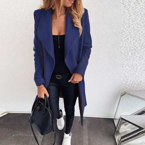 Solid Color Lapel Long Wool Coat