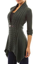 Load image into Gallery viewer, Cable Knit Irregular Hem Cardigan