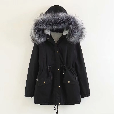 Winter Women Casual Drawstring Hooded Warm Coat (4369219747980)