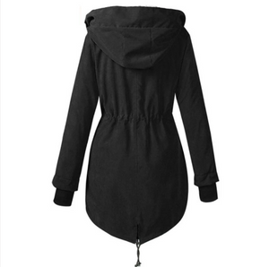 Women Winter Solid Thick Hooded Coat (4369240293516)