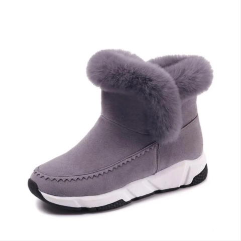 Women Ankle Snow Boot Faux Fur Rubber Slip-On Wedges (4369250582668)
