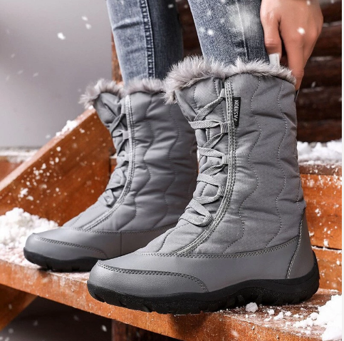 Women Warm Faux Fur Snow Boots Waterproof (4369267130508)