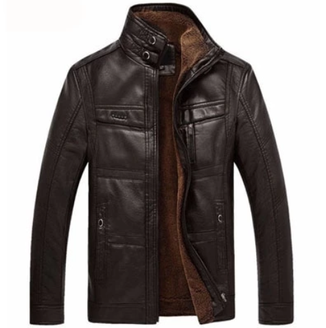 Men Warm Fleece Stand Collar Leather Jacket(M-5XL) (4369270538380)