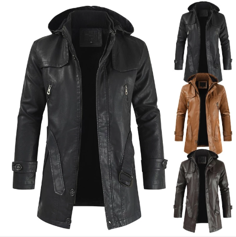 Men PU Leather Jacket Hooded Slim-fitting Coat (4369564336268)