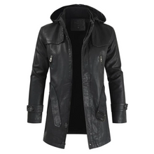 Load image into Gallery viewer, Men PU Leather Jacket Hooded Slim-fitting Coat (4369564336268)