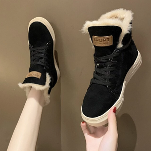 Women Winter Snow Boots Lace-up Flat Ankle Shoes (4369564958860)