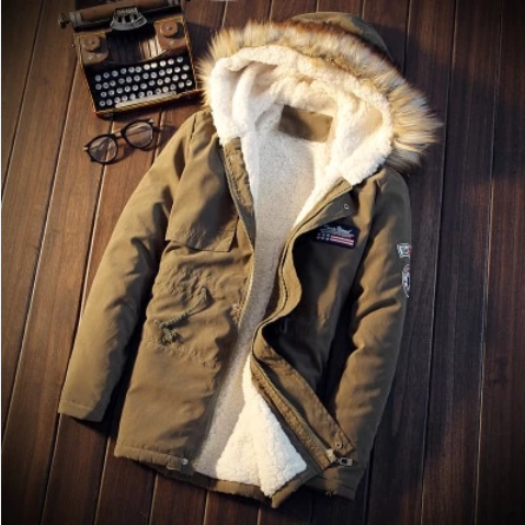 Winter Casual Men Jacket Thicken Fur Hooded Outwear (4369567973516)