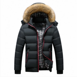 Men Winter Jackets Thick Hooded Fur Collar S-7XL (4369574756492)