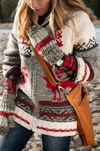 Christmas Print Zip Knit Coat
