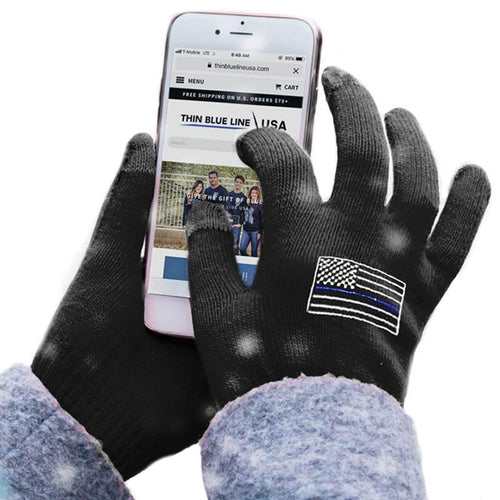 Thin Blue Line Touchscreen Gloves, Black