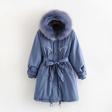 Load image into Gallery viewer, Women Warm Zip Pocket Hooded Long Coat (4370005524620)