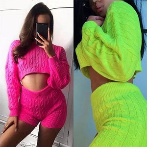 Fluorescent Sweater Exposed Navel Shorts Casual Suit (4369748885644)