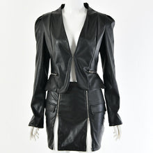 Load image into Gallery viewer, Sexy V-neck PU Blazer Zipper Skirt Suit Set (4369749573772)