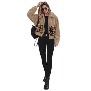 Solid Color Leopard Pocket Stitching Zipper Padded Jacket (4369628692620)