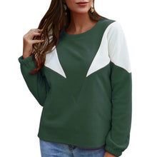 Load image into Gallery viewer, Long-sleeved Sweatshirt Stitching Contrast Top (4369733451916)