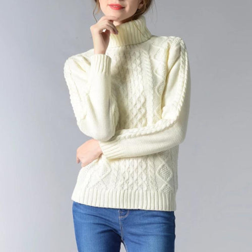 Women High Neck Long Sleeve Pullover Sweater (4369645666444)