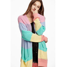 Load image into Gallery viewer, Rainbow Loose Sweater Open Front Cardigan (4369641504908)