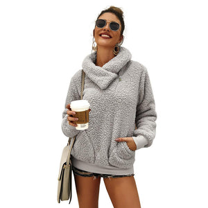 Plush Plain Pocket Sweatshirt Fashion Streetwear (4369719754892)