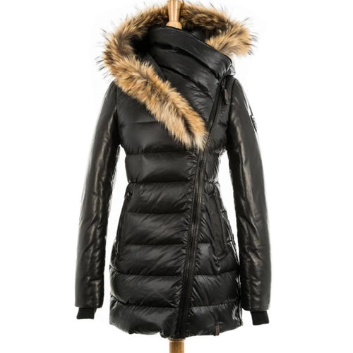 Women Winter Jacket Fur Collar Down Coat XS-3XL (4370002608268)