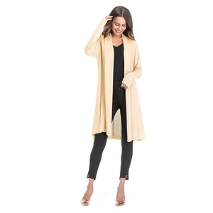 Open Front Knit Cardigan Solid Color (4369641177228)