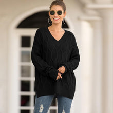 Load image into Gallery viewer, Women Loose V-Neck Split Knit Sweater (4369647534220)