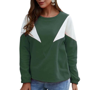Long-sleeved Sweatshirt Stitching Contrast Top (4369733451916)