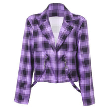 Load image into Gallery viewer, Plaid Lapel Short Jacket Long Sleeve (4369631707276)